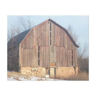 Old winter barn canvas print