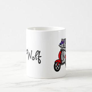 Old Wolf Wolf Riding a Scooter Basic White Mug
