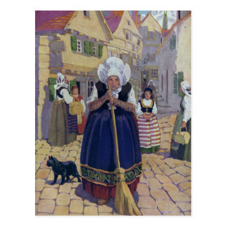 Old Woman, Cat and Broom Nursery Rhyme Postcard