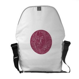 Old Woman Face Circle Mandala Messenger Bags