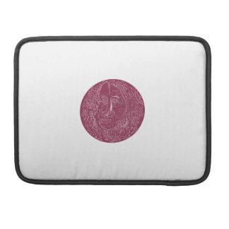 Old Woman Face Circle Mandala Sleeve For MacBook Pro