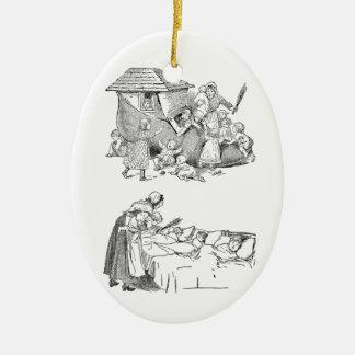 Old Woman Living in Shoe Nursery Rhyme Ceramic Ornament