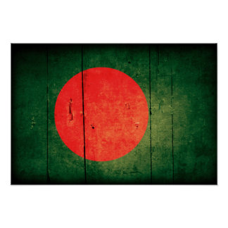 Old Wood Bangladesh Flag Poster