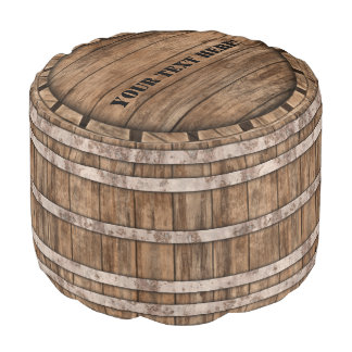 Old Wood Barrel Pouf with customizable lid text