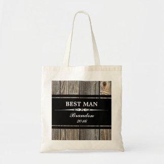 Old Wood Black BEST MAN Wedding Tote Bag