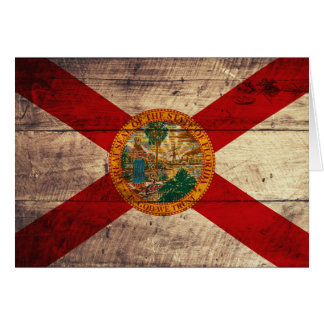 Old Wood Florida Flag; Card