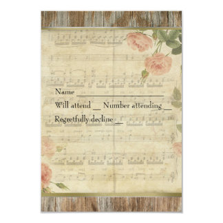 Old Wood, French Music Rose Rsvp with envelopes 9 Cm X 13 Cm Invitation Card