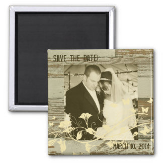 Old Wood Gold Tint Photo Save the Date Magnet