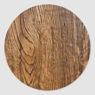 Old wood grain look round sticker
