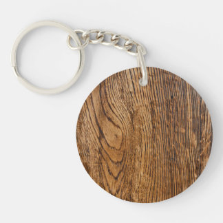 Old wood grain look Single-Sided round acrylic key ring