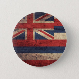 Old Wood Hawaii Flag; 6 Cm Round Badge