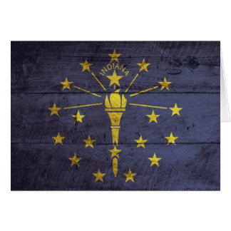 Old Wood Indiana Flag Greeting Cards