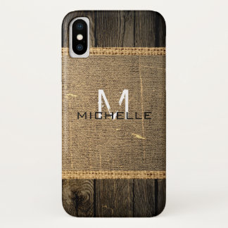 Old Wood Look Burlap Rustic Monogram iPhone X Case