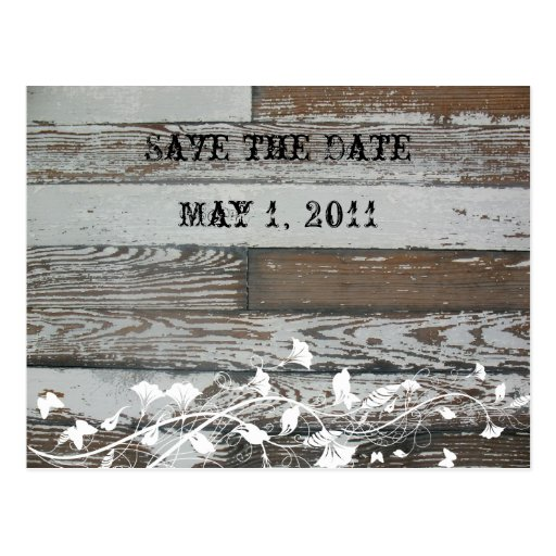 Old Wood Look Save the Date Post Card