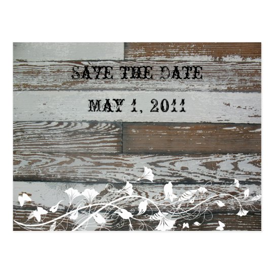 Old Wood Look Save the Date Postcard