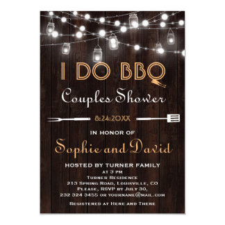 Old Wood Mason Jar String Lights Couples Shower Card