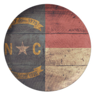 Old Wood North Carolina Flag; Plate