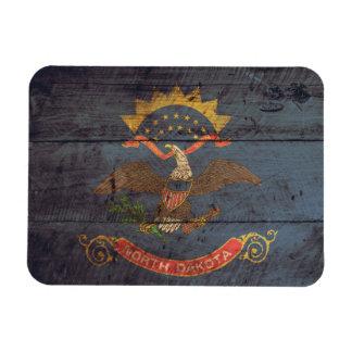 Old Wood North Dakota Flag; Magnet