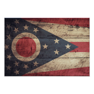 Old Wood Ohio Flag; Poster