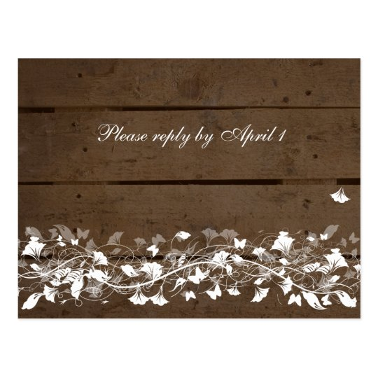 Old Wood Plank Floral RSVP Postcard