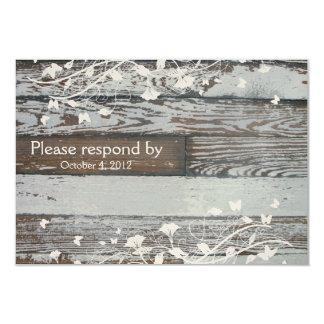 Old Wood RSVP with envelope Card