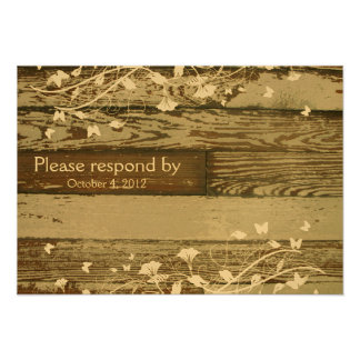 Old Wood RSVP with envelope Personalized Announcements