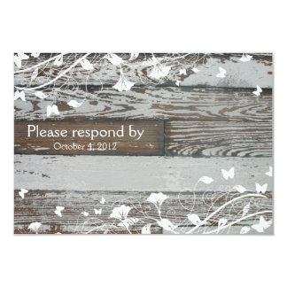 Old Wood RSVP with envelope--white 9 Cm X 13 Cm Invitation Card