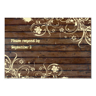 Old Wood Rsvp with envelopes Card