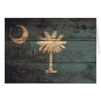 Old Wood South Carolina Flag; Greeting Cards