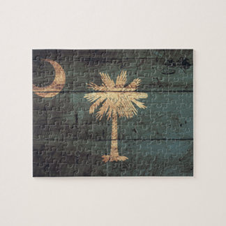 Old Wood South Carolina Flag; Jigsaw Puzzle