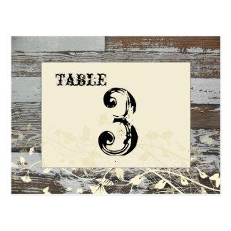 Old Wood Table Number Card (Cream, flat) Postcard