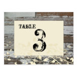 Old Wood Table Number Card (Cream, flat) Postcards