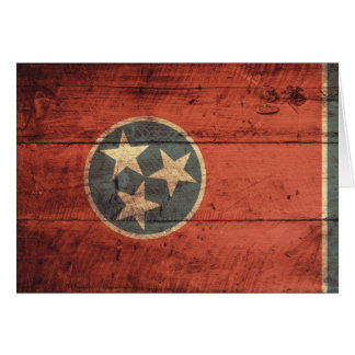 Old Wood Tennessee Flag; Note Card