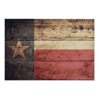 Old Wood Texas Flag Poster