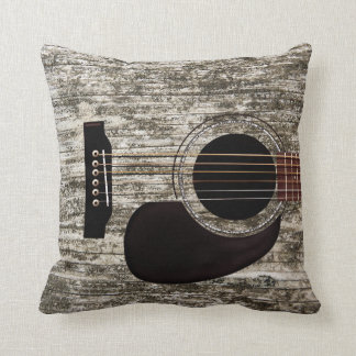 Old Wood Top Acoustic Guitar Throw Cushion