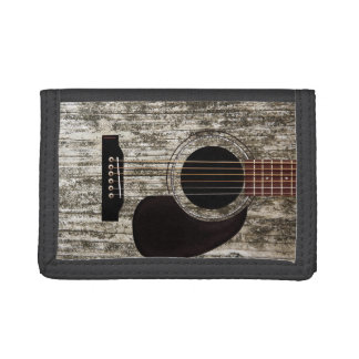 Old Wood Top Acoustic Guitar Tri-fold Wallets