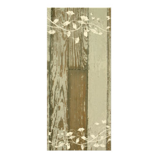 Old Wood Wedding Program or Menu--Gold Tint Rack Card