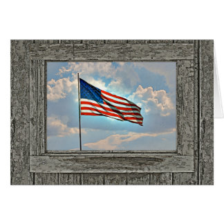 Old wood window American flag Cards