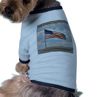 Old wood window American flag Dog T-shirt
