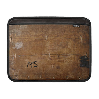 """""""Old Wood"""" with your Initial(s) """"scratched on"""" MacBook Sleeves"""