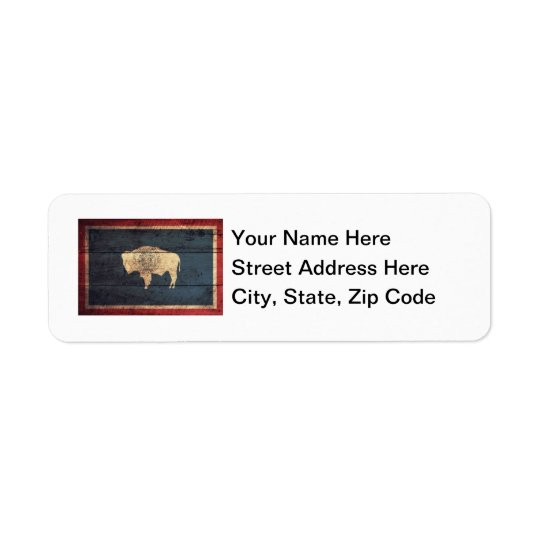 Old Wood Wyoming Flag Return Address Label