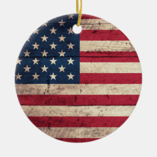 Old Wooden American Flag Ceramic Ornament