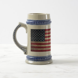 Old Wooden American Flag Coffee Mugs