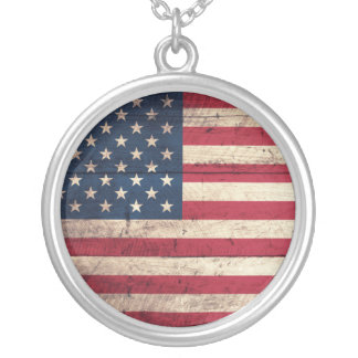 Old Wooden American Flag Necklaces