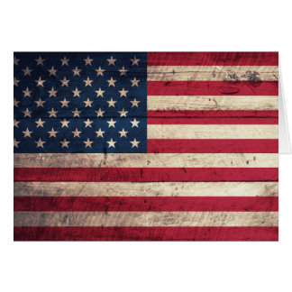 Old Wooden American Flag Note Card