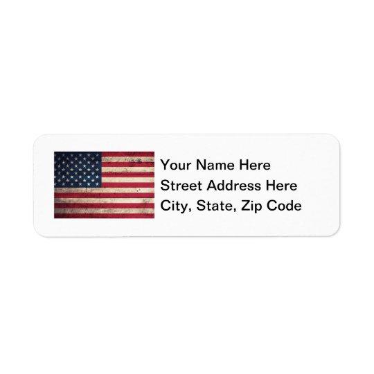 Old Wooden American Flag Return Address Label