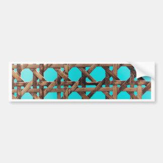 Old wooden basketwork bumper sticker