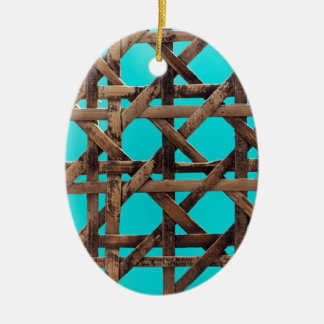 Old wooden basketwork ceramic ornament