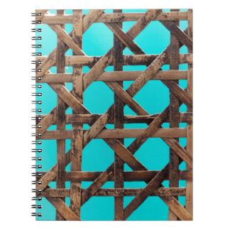 Old wooden basketwork notebook