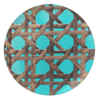 Old wooden basketwork plate